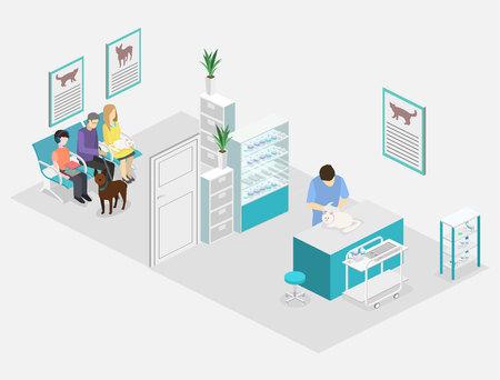 ilustración 3D isométrica plana interior de la clínica veterinaria. El veterinario trata a la mascota