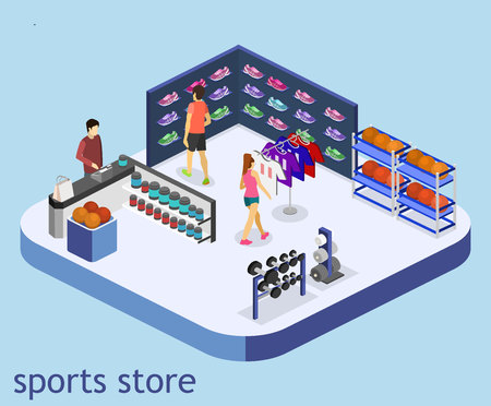 Isometric flat 3D isolated concept vector interior goods for the sports shop. Stand with sneakers, clothes, baseball swords,dumbbells