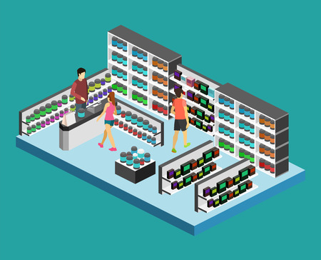 Isometric flat 3D isolated concept vector cutaway interior of Sports supplements.