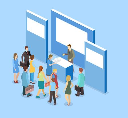 concept 3D isométrique plat exposition vecteur ou stand de promotion. stand de foire commerciale