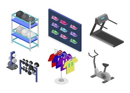 shopping center interior: Isometric flat 3D isolated concept vector goods for the sports shop. Stand with sneakers, clothes, baseball swords,dumbbells