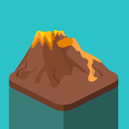Isometric flat 3D isolated concept vector volcano magma nature blowing up with lava flowing down