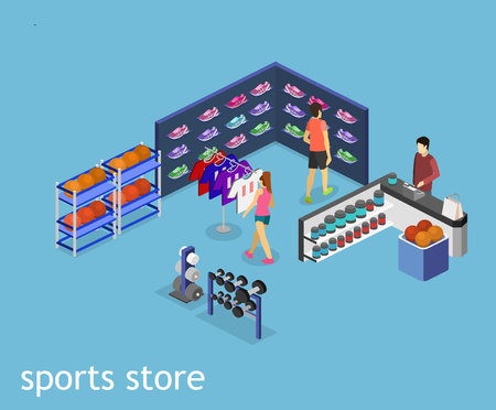 real tennis: Isometric flat 3D isolated concept vector interior goods for the sports shop. Stand with sneakers, clothes, baseball swords,dumbbells