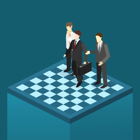 Isometric flat 3D isolated concept vector corporate business market strategy.