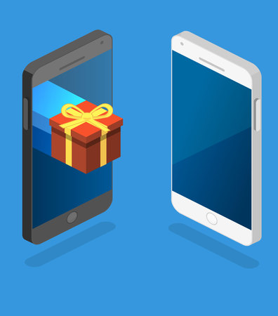 Isometric flat 3D isolated concept vector online order conceptual composition with gift box on top of phone touch screen