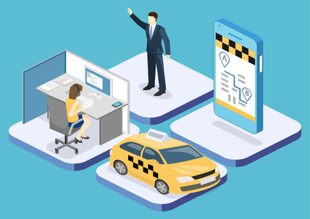 Isometric flat 3D isolated concept vector taxi transport, service. A person calls a taxi through a mobile application.