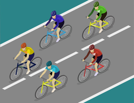 Isometric flat 3D isolated concept vector the group of cyclists man in road bicycle racing. Vectores