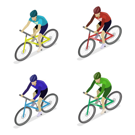 Isometric flat 3D isolated concept vector the group of cyclists man in road bicycle racing. Ilustração