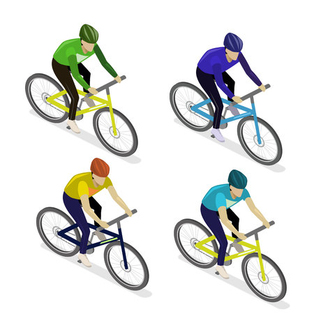 107 Isometric Bicyclist Stock Vector Illustration And Royalty Free ...