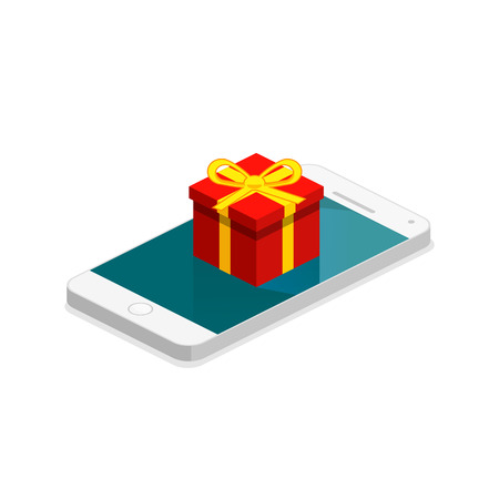 Isometric flat 3D isolated concept vector online order conceptual composition with c gift box on top of phone touch screen