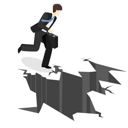 Isometric businessman running into the abyss. Man is facing difficulties. Obstacle threatens business. Financial crisis.