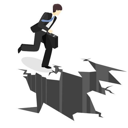 Uomo d'affari isometrico che si imbatte nell'abisso. L'uomo sta affrontando difficoltà. Ostacolo minaccia affari. Crisi finanziaria. Vettoriali