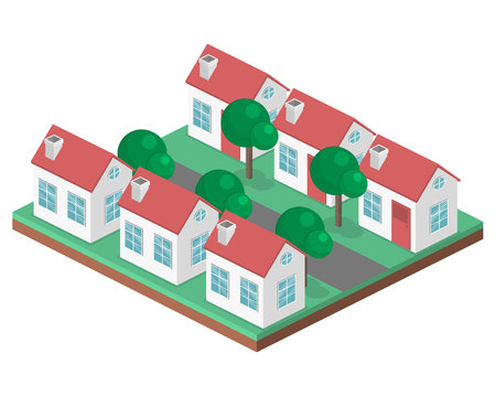 Isometric flat 3D isolated concept vector cityscape. District with small single-storey houses Ilustração Vetorial