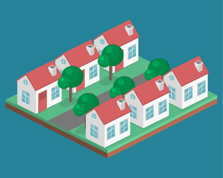 Isometric flat 3D isolated concept vector cityscape. District with small single-storey houses Illustration