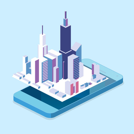 Isometric flat 3D isolated concept vector cutaway mobile navigation maps info graphic with marker. City on the mobile phone screen Illustration