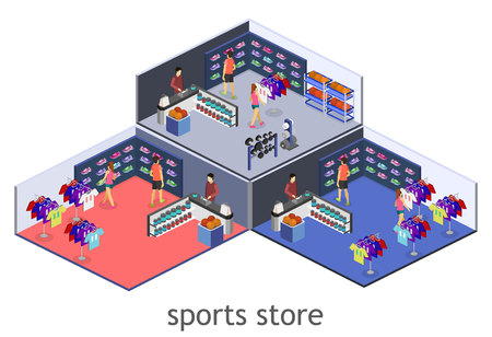 real tennis: Isometric flat 3D isolated concept vector interior goods for the sports shop.