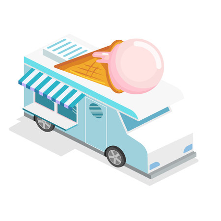 truck driver: Isometric flat 3D isolated concept vector ice cream truck,van with icecream on the roof