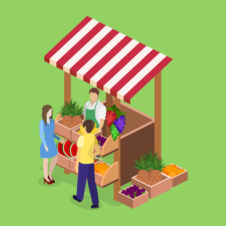 apples and oranges: Isometric flat 3D isolated concept vector fruit stand. Produce shop keeper. Fruit and vegetables retail business owner working in his own store.