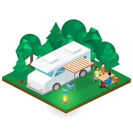 Isometric flat 3D isolated concept vector landscape for camping.