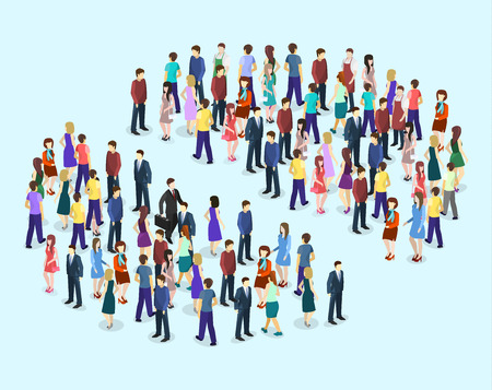 business woman: Isometric flat 3D isolated concept vector Infographic chart consisting of a crowd of people