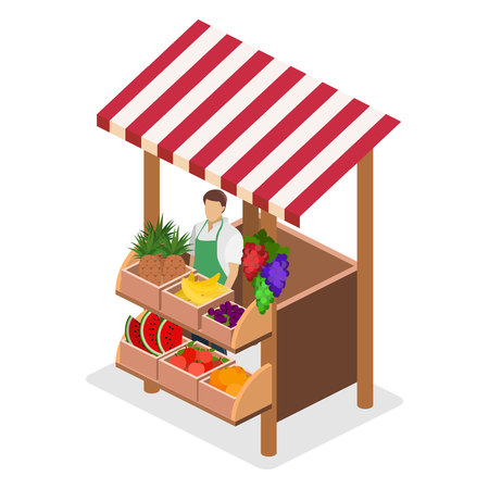Isometric flat 3D isolated concept vector fruit stand. Produce shop keeper.