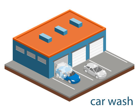 Isometric flat 3D isolated concept vector cutaway building car wash service.