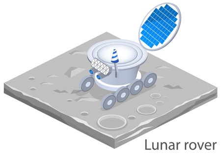 moon rover: Isometric flat 3D isolated concept vector lunar rover on the surface of the moon