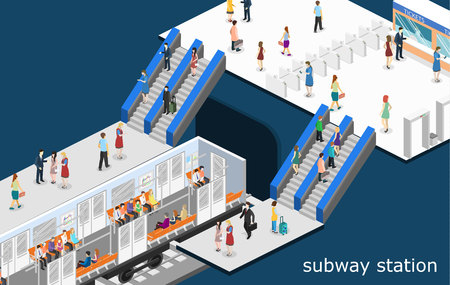 commuter: Isometric flat 3D concept vector interior of metro subway train carriage. underground station Illustration