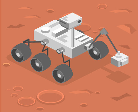 Isometric flat 3D isolated concept vector Rover standing on Mars Vectores