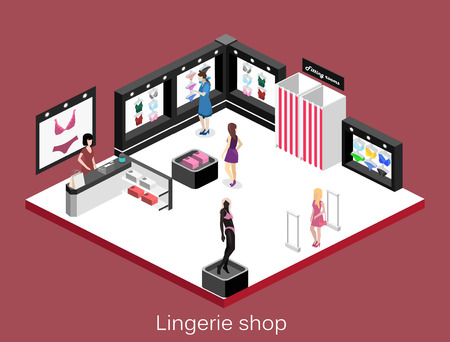 cash register building: Shop of underwear. Isometric flat 3D isolated concept vector cutaway interior lingerie store