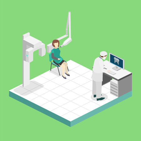 Isometric flat 3D isolated concept vector cutaway interior Oral Radiology
