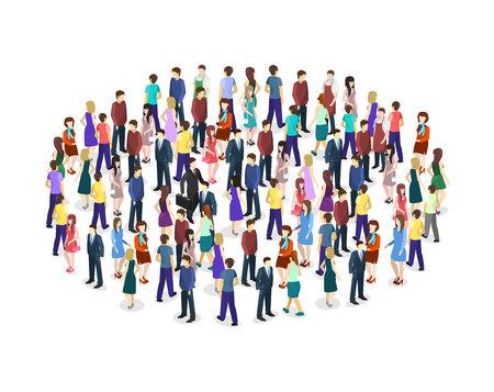 Big people crowd on white background. Vector illustration. 일러스트