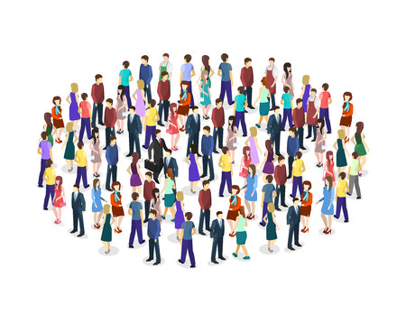 Big people crowd on white background. Vector illustration. Vettoriali
