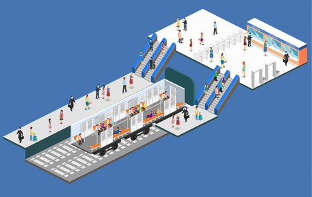Isometric flat 3D concept vector interior of metro subway train carriage. underground station 向量圖像