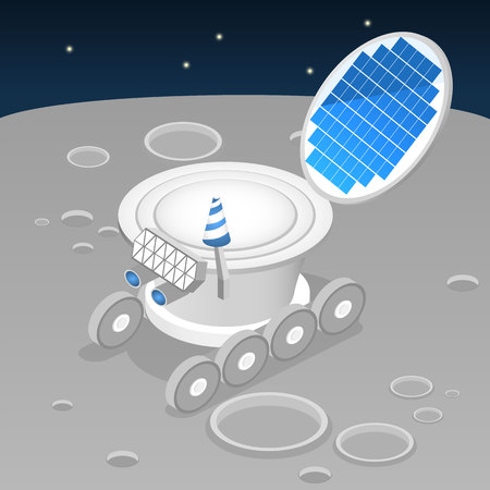 lunar rover: Isometric flat 3D isolated concept vector lunar rover on the surface of the moon