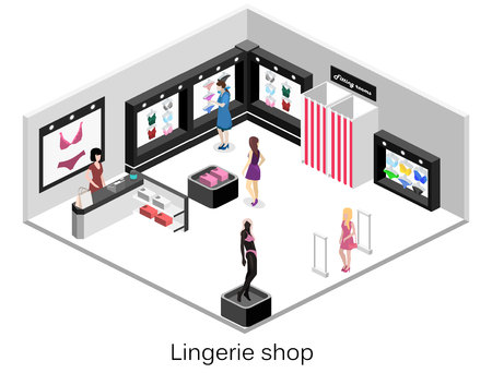 Shop of underwear. Isometric flat 3D isolated concept vector cutaway interior lingerie store