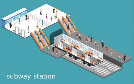 metropolitan: Isometric flat 3D concept vector interior of metro subway train carriage. underground station Illustration