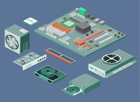 ddr: Isometric flat 3D isolated concept vector white computer Computer parts