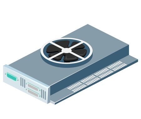 dvi: Isometric flat 3D isolated concept vector video card computer technology equipment
