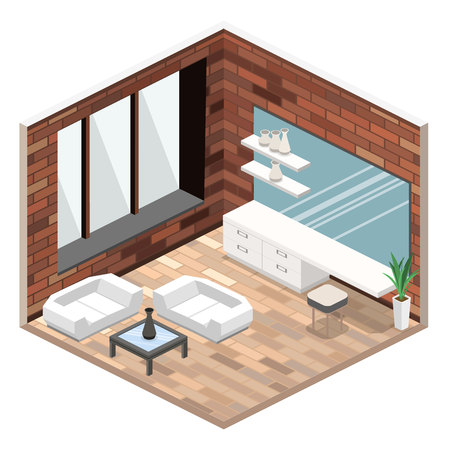 night table: modern bedroom design in isometric style.