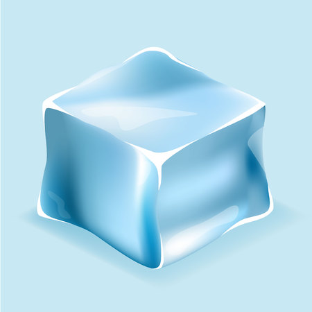 Isometric flat 3D isolated concept vector ice cubes in blue colors
