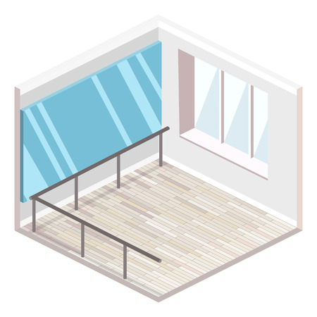 Isometric flat 3D isolated concept vector cutaway interior empty training dance-hall with parquet floor large mirror and panoramic window with white curtains.