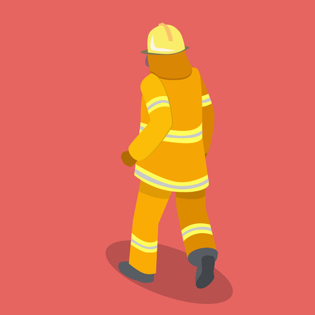 Isometric flat 3D isolated concept vector cutaway Firefighters in action
