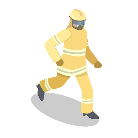Isometric flat 3D isolated concept vector cutaway Firefighters in action. Illustration
