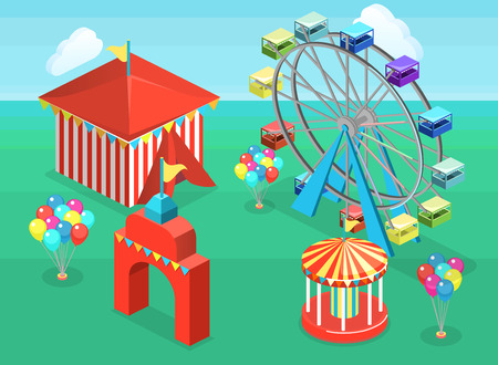 Isometric flat 3D isolated concept of an amusement park with carousels.