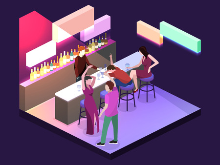 night table: Isometric flat 3D isolated concept vector cutaway Bar in the nightclub. Bar counter with stools before it, and alcohol cocktails and bottles on the shelves. A drunk man is sleeping. People are dancing Illustration