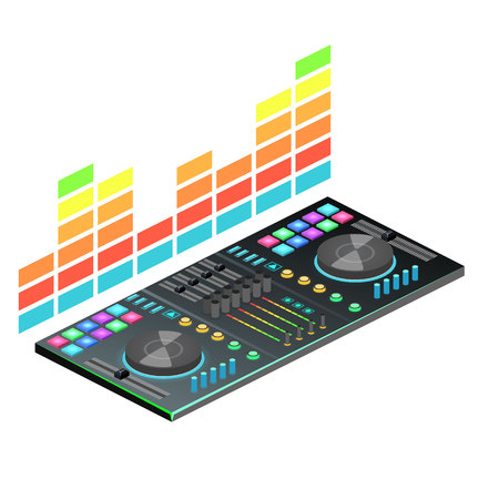 Isometric flat 3D isolated concept vector dj console