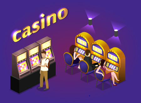 slot in: Isometric flat 3D isolated concept vector cutaway interior casino. Men and women play slot machines in casinos Illustration