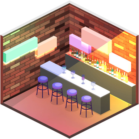 night table: Isometric flat 3D isolated concept vector cutaway Bar in the nightclub. Bar counter with stools before it, and alcohol cocktails and bottles on the shelves.