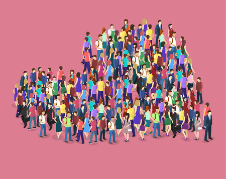 Isometric flat 3D isolated concept vector Infographic chart consisting of a crowd of people in the shape of a heart